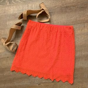 J.Crew Factory Red Scallop Skirt